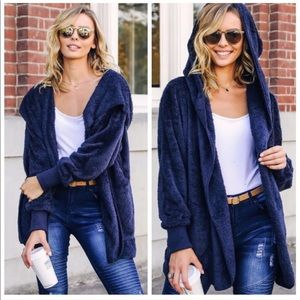 Jackets & Blazers - HAILEY NAVY teddy bear Sherpa fleece jacket!